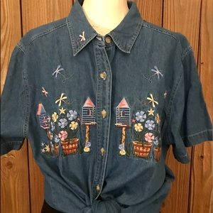 VTG Blue Denim Embroidered Birdhouse Floral Top